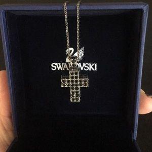 Brand new Swarovski black crystal cross necklace